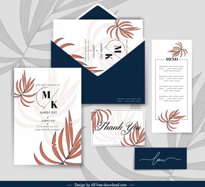 wedding templates elegant classic leaves decor