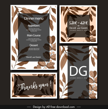 wedding templates elegant classical brown leaves decor