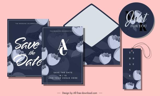 wedding templates elegant dark design petals decor