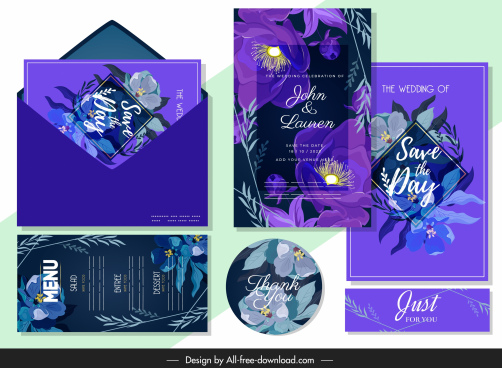 wedding templates elegant dark violet decor flower decor