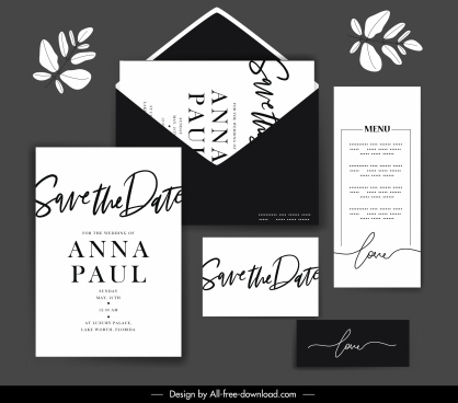 wedding templates elegant plain black white calligraphic decor