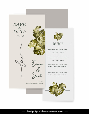 wedding templates green leaf decor elegant design