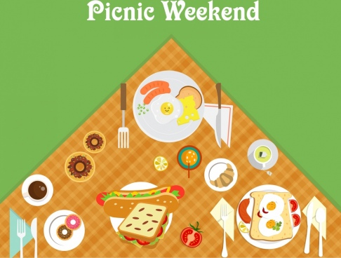 weekend picnic banner food icons decoration