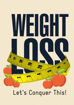weight loss advertising ruler apple capital texts decor