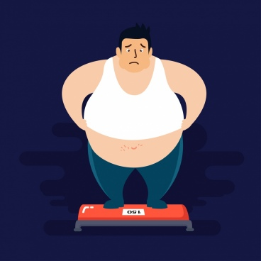 weight problem drawing fat man weighing icon