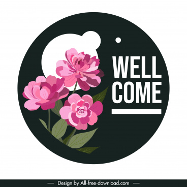 welcome sign template classical petals decor circle isolation