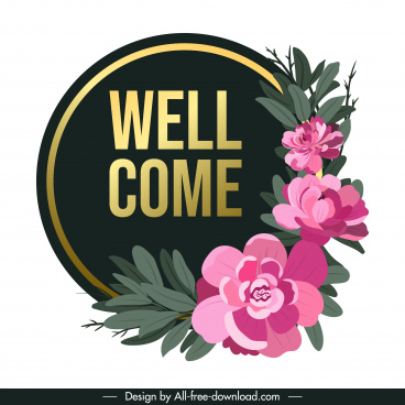 welcome sign template elegant petals decor circle shape