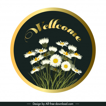 welcome sign template floral decor shiny colored modern