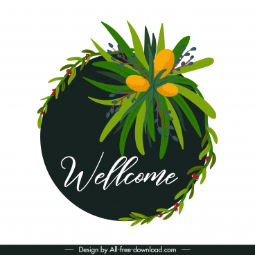welcome sign template plants decor circle isolation
