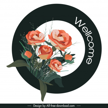 welcome sign template roses decor elegant circle design