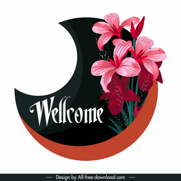 welcoming sign template lily flower decor crescent shape
