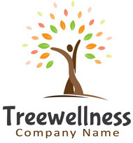 wellness with tree logo vector