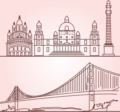 west bengal lineart vector illustration