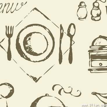 dishware icons classical handdrawn sketch