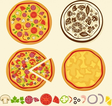 pizza menu background flat colored handdrawn sketch