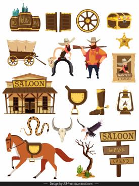 western cowboy design elements colored classic symbols sketch