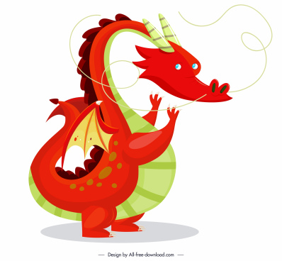 western dragon icon cartoon character colorful design