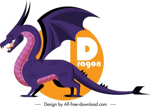 western dragon icon colored cartoon sketch