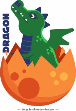 western dragon icon egg baby sketch