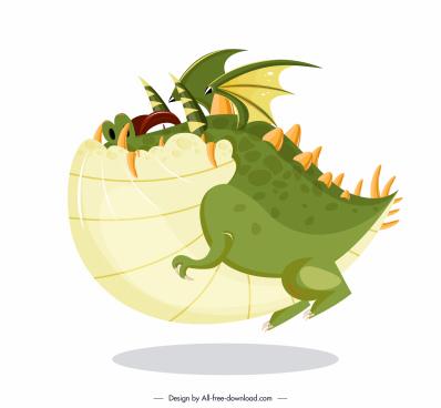 western dragon icon fat sketch funny cartoon character