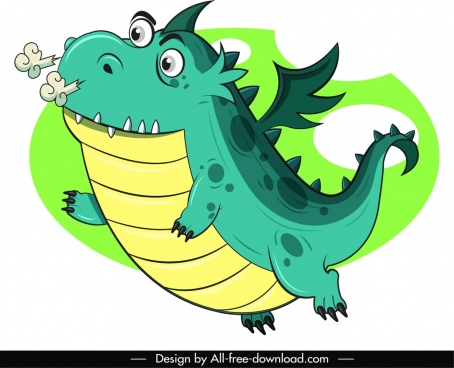 western dragon icon flying sketch cute cartoon character
