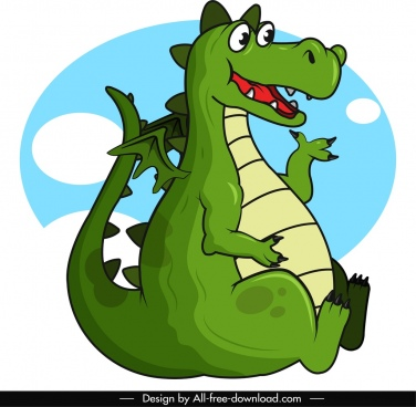 western dragon icon green sketch cute cartoon characer