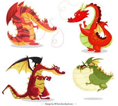 western dragon icons funny cartoon characters colorful design