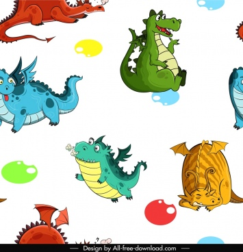 western dragon pattern colorful repeating decor