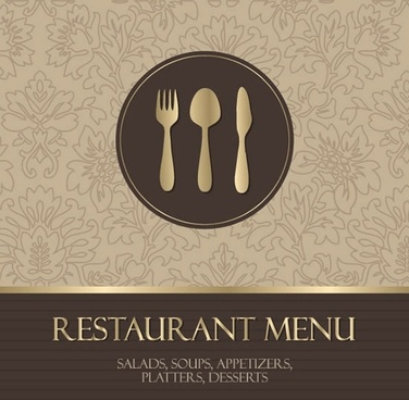 menu cover template elegant classic brown design