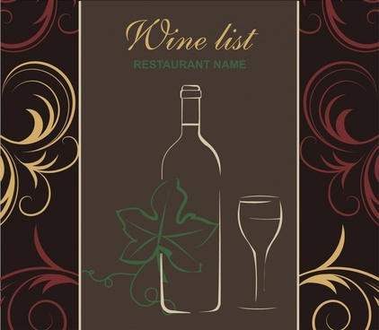wine menu cover template colorful classic flat sketch