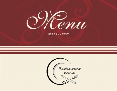 menu cover template elegant decor flat handdrawn dishwares