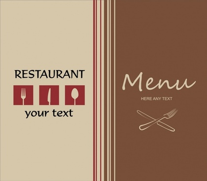 menu cover template elegant flat dishwares sketch