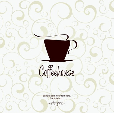 coffee advertising background elegant flat classic cup sketch