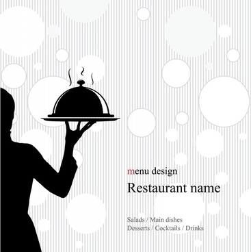 menu cover template waiter icon flat classic silhouette
