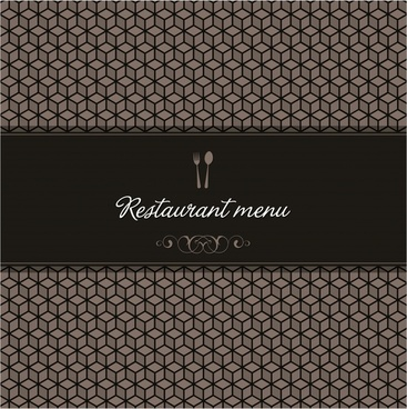 menu cover template elegant dark cubic seamless illusion