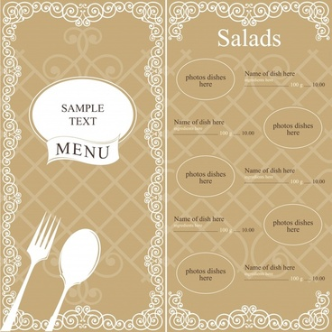 menu template elegant classic brown decor