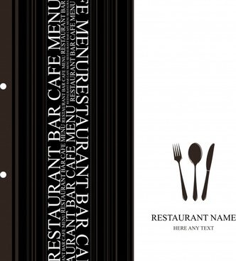 menu cover template luxury black white vertical decor