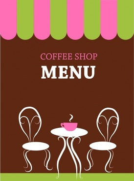 coffee menu cover template classical chair table sketch