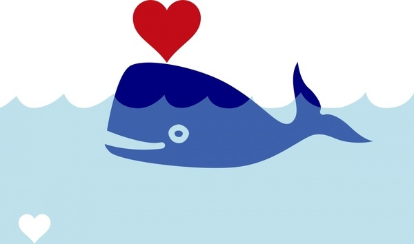 whale bringing love vector illustration with cartoon style