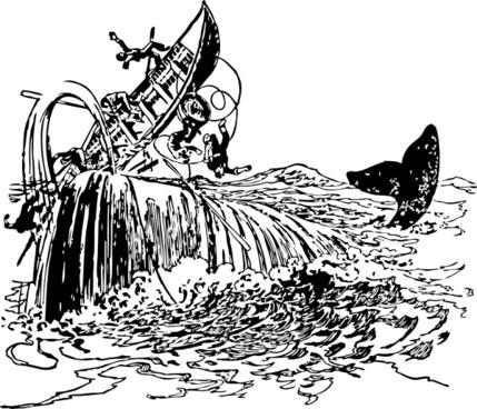 Whale Filps Boat clip art