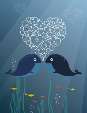 whales couple background heart bubbles decoration