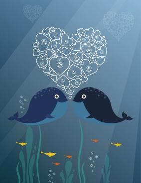whales couple background heart bubbles decoration