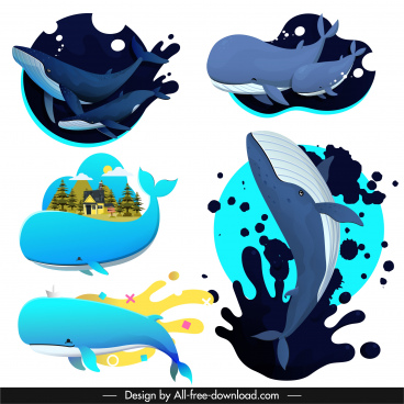 whales icons motion sketch colored design