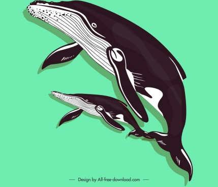 whales painting colored classical sketch