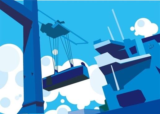 wharf industrial vector