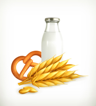 wheat and milk vector