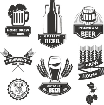 wheat beer retro labels vector set