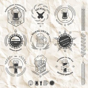 wheat beer retro labels vector set