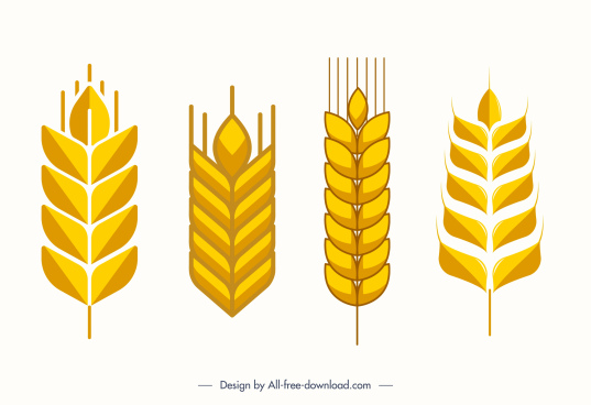 wheat icons golden flat classic symmetric shapes