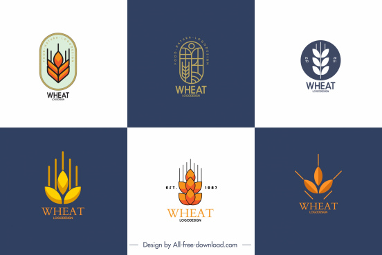 wheat logo templates flat classical design